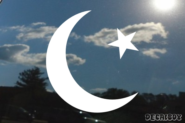 Crescent Moon With Star Car Decal