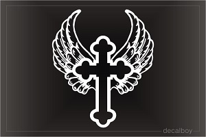 Cross With Wings Window Decal