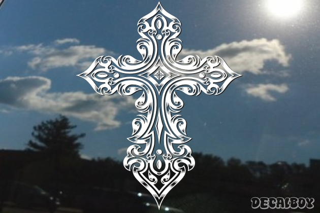 Decorative Cross Flames Decal