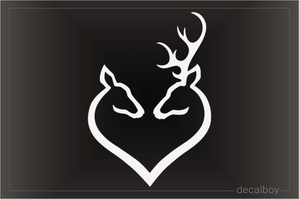 Doe Buck Heart Decal