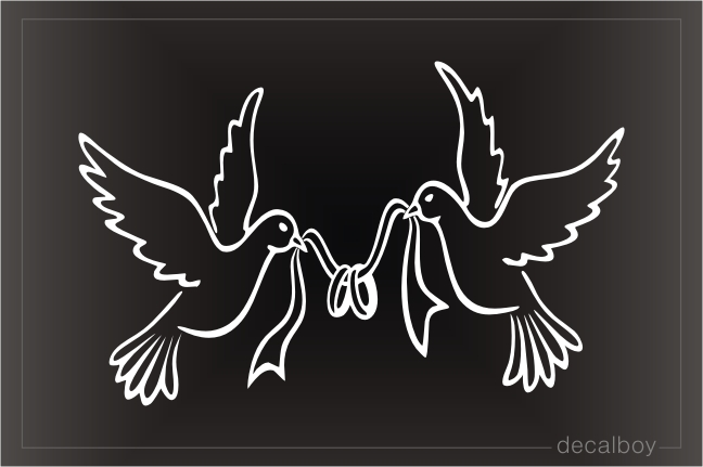 Doves With Wedding Rings Window Decal