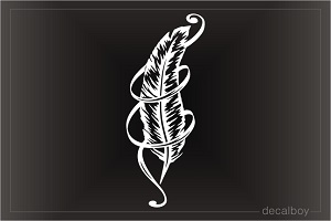 Feather In Ribbon Decal