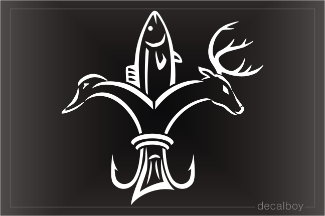 Fish Duck Deer Fleur De Lis Decal