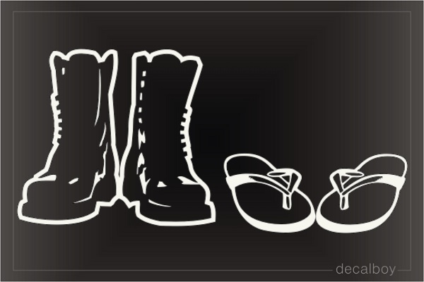 Flip Flops And Combat Boots Car Decal
