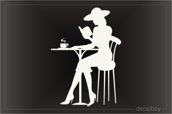 Girl With Coffee And Book Decal