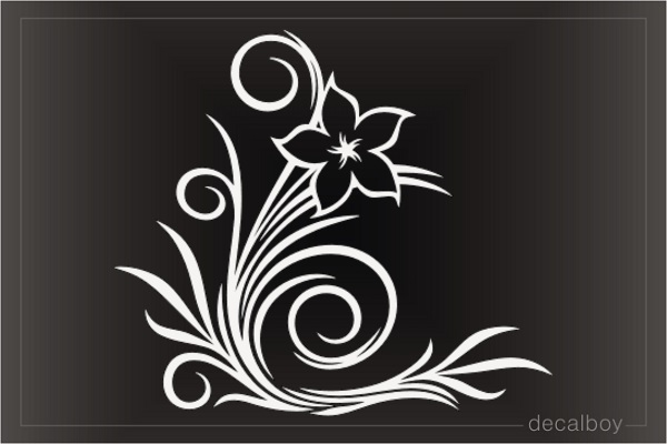 Hawaiian Plumeria Flower Tribal Decal