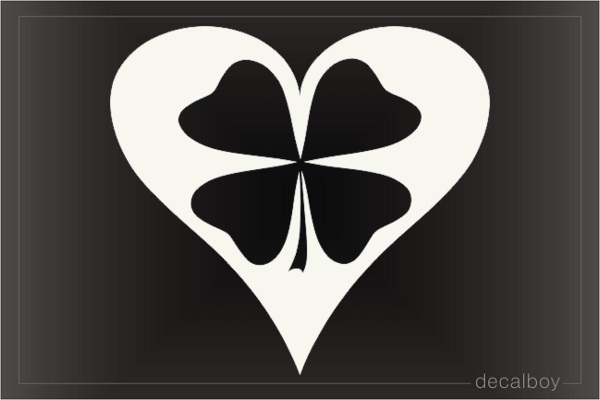 Heart With Four Leaf Clover Decal