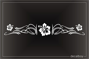 Hibiscus Flower Stripe Window Decal