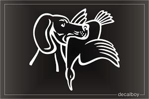 Hunting Dog Holding Duck Decal