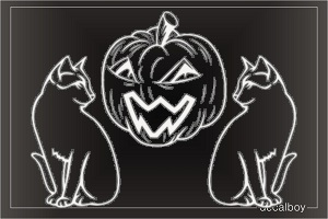 Irish Jack Olantern Cats Decal