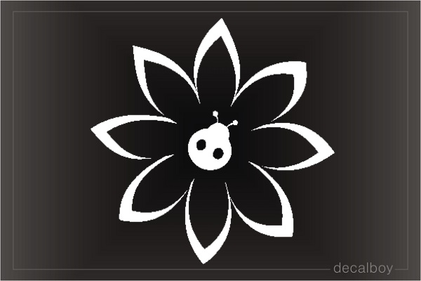 Ladybug Flower Window Decal