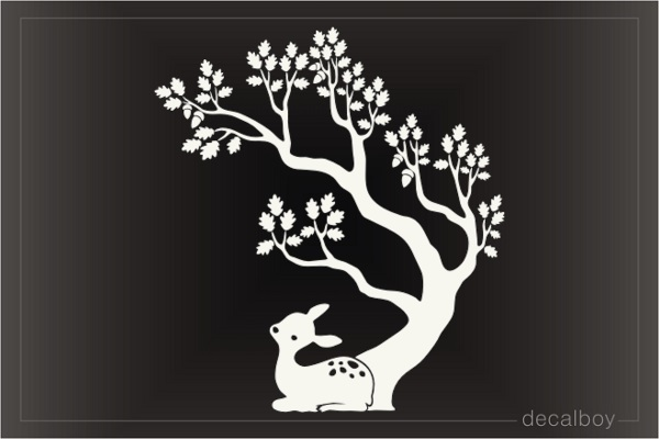 Little Deer Under Cartoon Oak Tree Decal