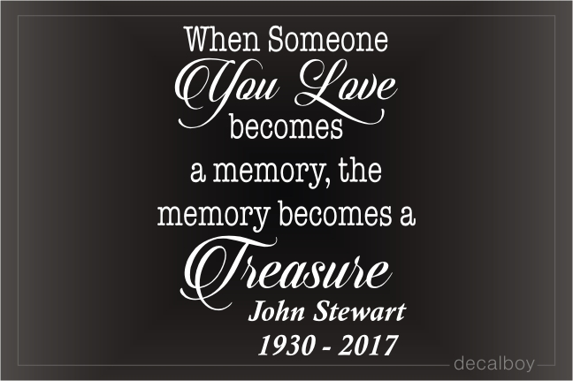 Memory Becomes Treasure Car Decal