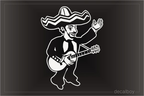 Mexican Cartoon Guitarist Musician Decal