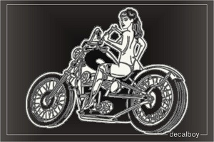 Sexy Motorcyclist Car Decal