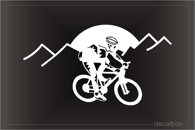 Mountain Biker 4 Window Decal