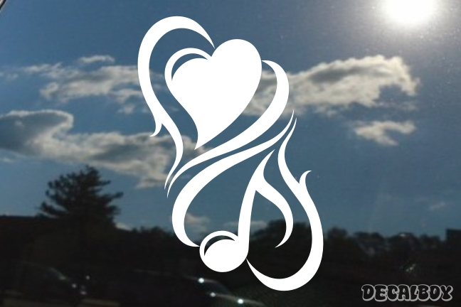 Music Love Tribal Hearts Decal