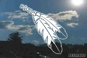 Native American Indian Eagle Feathers Beads Decal