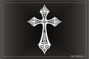 Ornate Cross Window Decal