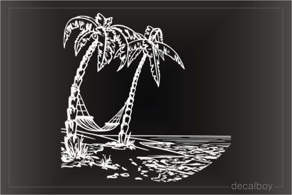 Palm Trees Beach Hammock Decal