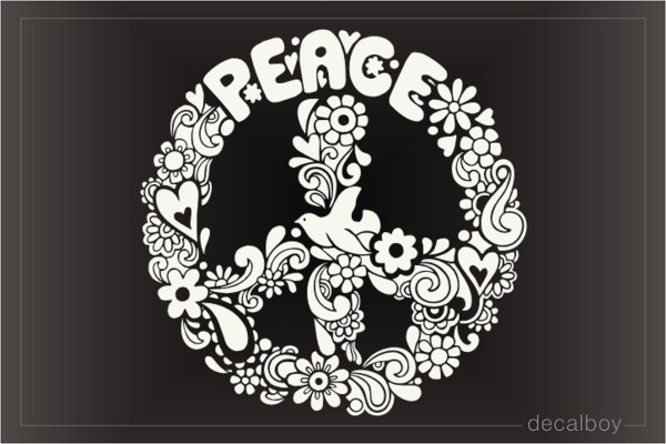 Peace Flowers Car Decal