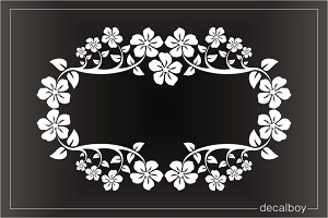 Plumeria Flower Wreath Window Decal
