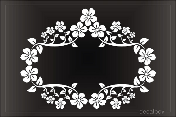 Floral Wreath Plumeria Decoration Window Decal