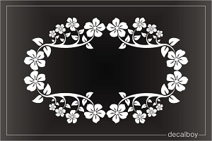 Plumeria Frame Window Decal