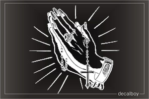 Praying Hands Rosary Decal