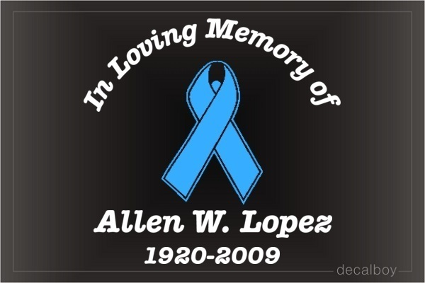 Prostate Cancer Ribbon Memorial Car Decal