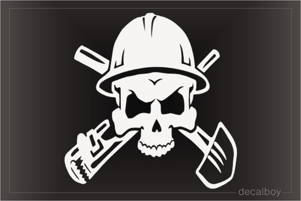 Skull Pipewrench Shovel Decal