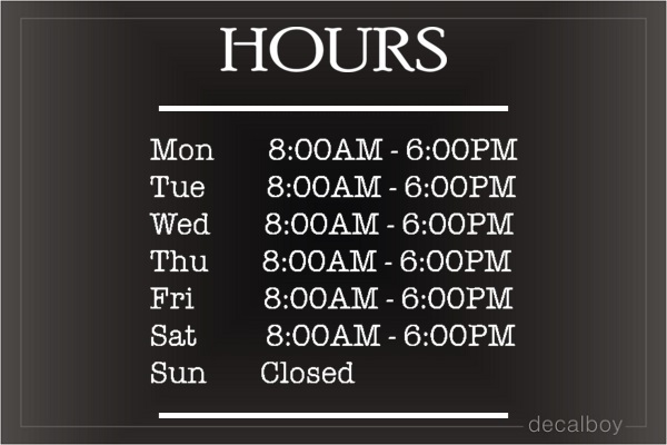 Storefront Hours Decal