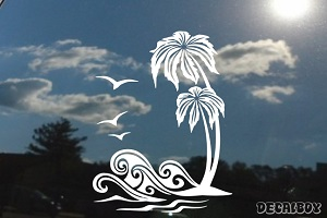 Sunset Palm Trees Sea Waves Decal