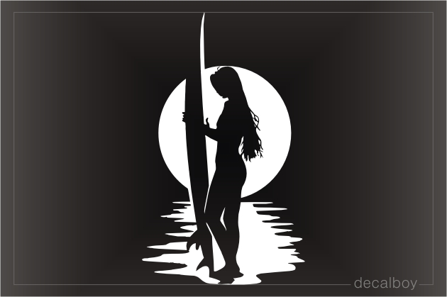 Surfer Girl Holding Surfboard Decal