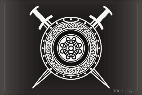 Viking Crossed Swords And Shield Decal