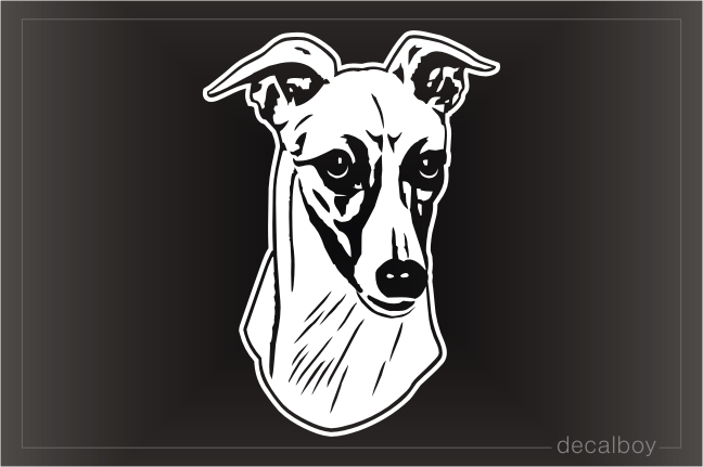 Whippet Dog Head Decal