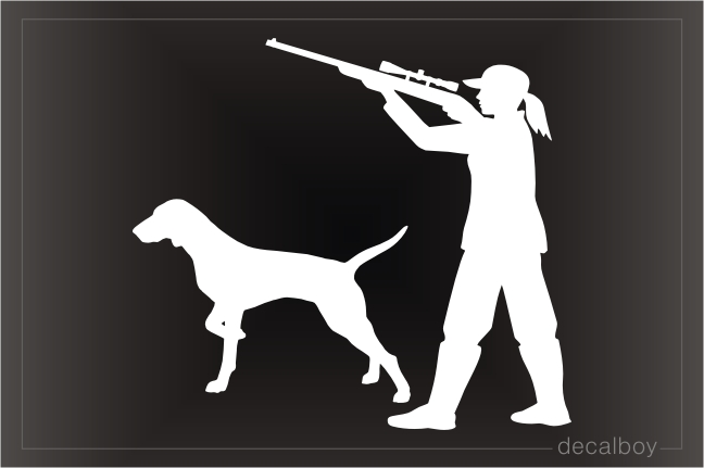 Woman Hunter With Dog Decal