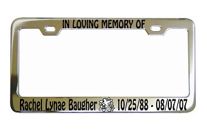 In Loving Memory Flowers Cross License Frame