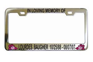 in loving memory flowers rose license frame