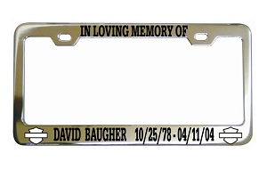 In Loving Memory Motorcycler License Frame