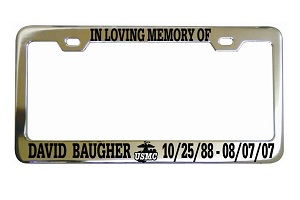 In Loving Memory Marines License Frame