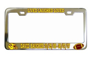 Lived Laughed Loved Football Memorial License Frame
