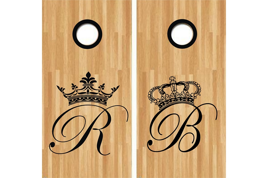 Monogram Crown Letter Cornhole Decal