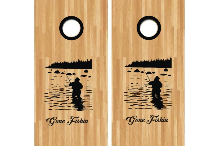 Gone Fishin Cornhole Decal