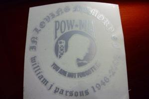 Pow Mia Bar And Shield Decal