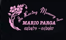 Memorial decal with flowers